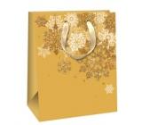 Ditipo Darčeková papierová taška Glitter zlatá, bielej a zlatej vločky 18 x 10 x 22,7 cm QC