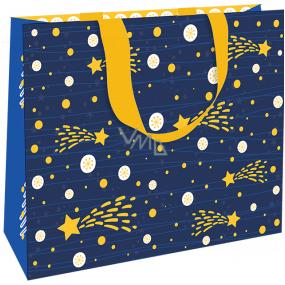 Nekupto Darčeková papierová taška luxusné 30 x 23 cm Modrá s kométou Vianočné WLFL 1997