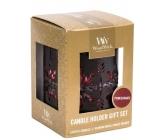 Woodwick Pomegranate - Granátové jablko vonná sviečka s dreveným knôtom petite 3 x 31 g + Bronzová snehová vločka svietnik darčekový set