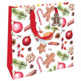 Nekupto Darčeková papierová taška luxusné 23 x 23 cm Vianočné medovníky WLIM 1975