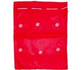 Mikuláš / Santa pytlík červený s vločkami 40 x 32 cm