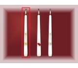 Lima Svadobné sviece Zlaté obrúčky sviečka biela kužeľ 22 x 250 mm