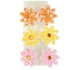 Kvetinky z filcu 4 cm na klipe 6 kusov v sáčku