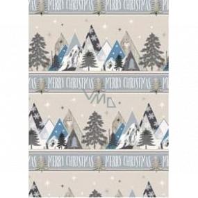 Ditipo Darčekový baliaci papier 70 x 200 cm Vianočný strieborný hory Merry Christmas