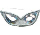 Škraboška hologramová mačacie oči strieborná vhodná pre dospelých