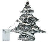 Emos Stromček prútený 30 x 30 x 8 cm, 30 LED studená biela + 30 cm kábel-na batérie