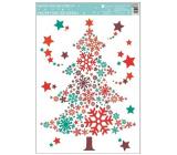Room Decor Okenné fólie bez lepidla farebná, stromček z vločiek 33,5 x 25,5 cm
