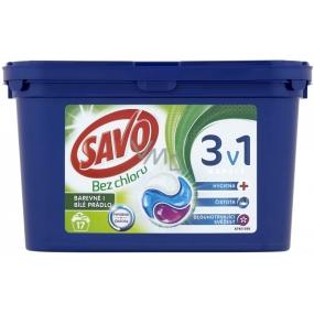 Savo Bez chloru Universal 3v1 gelové kapsle na praní bílého i barevného prádla 17 kusů