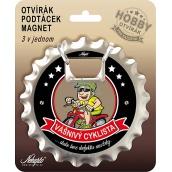 Nekupto Hobby 3v1 otvárač, podtácek, magnet Vášnivý cyklista 10 cm