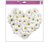 Okenné fólie bez lepidla Srdce z kvetov Chryzantény 30 x 33,5 cm