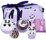 Bomb Cosmetics Panda Yourself šumivý balistik do kúpeľa 2 x 160 g + glycerínové mydlo 100 g + špalíček do kúpeľa 50 g + maslová gulička 30 g, kozmetická sada