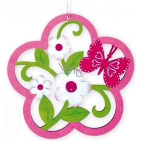 Kvet vyrezávaný ružový, na zavesenie 18 cm