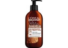Loreal Paris Men Expert BarberClub Beard Face & Hair Wash 3v1 gél pre dennú starostlivosť o tvár, fúzy a vlasy dávkovač 200 ml
