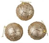 Banky zlaté s glitrami na zavesenie 8 cm, 3 kusy