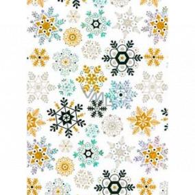 Ditipo Darčekový baliaci papier 70 x 150 cm Vianočný biely holografický zlatej a čierne vločky