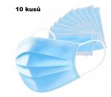 Rúška 3 vrstvová ochranná zdravotné netkaná jednorazová, nízky dýchací odpor 10 kusov modrá TYPE IIR