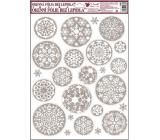 Okenní fólie bez lepidla bílo stříbrné kruhové vločky 42 x 30 cm