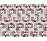 Darčekový baliaci papier Mimoni Vianočné červeno-šedé