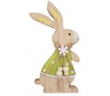 Zajac v zelenom drevený na postavenie 15 cm