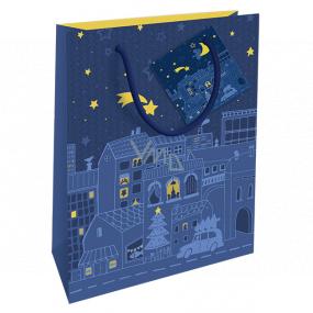 Nekupto Darčeková papierová taška 14 x 11 x 6,5 cm Vianočná modrá nočné mesto WBS 1922 40