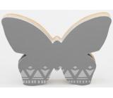 Nekupto Home Decor Drevená dekorácia motýlik šedý 12 x 8 cm