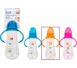 First Steps Feeding Bottle 0+ dojčenská fľaša číra s úchopmi Zoo oranžová 250 ml