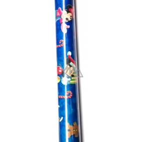 Nekupto Darčekový baliaci papier 70 x 150 cm Disney Mickey Mousse a Minnie Vianočné modrý