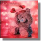Me to You Blahoželania do obálky 3D Svet je tak krásny Medveď s čelenkou 15,5 x 15,5 cm