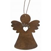 Drevený anjel závesný 8 cm, tmavo hnedý