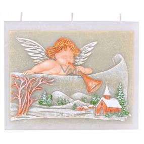 Candles Anjel s trumpetu vonná sviečka plochá 3 knôty 130 x 110 mm