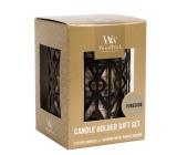Woodwick Fireside - Oheň v krbe sviečka s dreveným knôtom petite 3 x 31 g + Gemometrický svietnik darčekový set