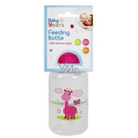 First Steps Safari 0+ dojčenská fľaša Žirafa ružová 150 ml