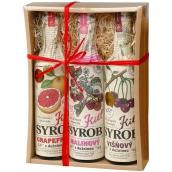 Kitl Syrob Bio Grapefruit s dužinou 500 ml + Višňový s dužinou 500 ml + Malinový s dužinou sirup pre domáce limonády 500 ml, darčekové balenie