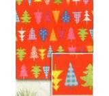 Nekupto Baliaci papier vianočné Červený farebné stromčeky 70 x 200 cm 1 role BVC 2015