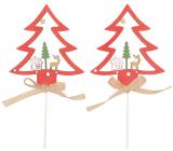 Strom drevený zápich červený 8 cm + špajle, 2 kusy