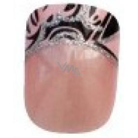 Diva & Nice Natureasy Nails Decorated nalepovacie nechty ružové s čierno-ružovou aplikácií 24 kusov