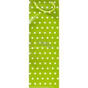 Nekupto Dárková papírová taška na láhev 33 x 10 x 9 cm zelená bílý puntík 1 ks 869 50 ALH