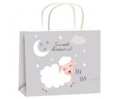 Taška darčeková celoročné pre deti M sivá ovečka 23x18x10cm