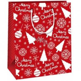 Ditipo Darčeková papierová taška 18 x 10 x 22,7 cm červená Merry Christmas C
