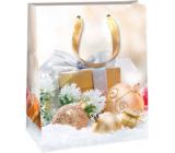 Ditipo Darčeková papierová taška 26,4 x 13,6 x 32,7 cm Glitter Vianočné svetlá - zlatý darček a banky
