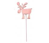 Sob drevený ružový zápich 8 cm + drôtik