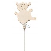 Ovečka dřevěná 8 cm bílá + drátek