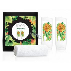 Ryor Vlasová starostlivosť bylinný šampón s pantenolom 200 ml + regeneračný kondicionér s pantenolom 200 ml + mäkký froté uterák 30 x 50 cm, kozmetická sada