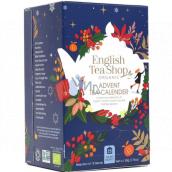 English Tea Shop Bio Adventný kalendár modrý 24 kusov biologicky odbúrateľných pyramídiek čaju, 13 príchuťou, 50 g, darčeková sada