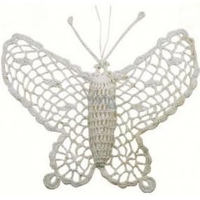 Háčkovaný motýľ veľký cca16 cm biely