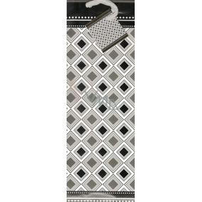 Nekupto Darčeková papierová taška na fľašu 33 x 10 x 9 cm Čiernobiela vzory 1103 02 KFLH