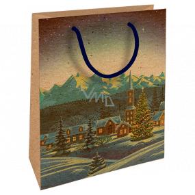 Nekupto Darčeková Kraftová taška 25 x 8 x 19 cm Vianočný zimná krajina 597 WKHM