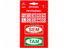 Arch Informačné piktogramy Sem a Tam v blistri 9,5 x 16,5 cm