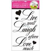 Room Decor Samolepky na zeď nápis Žít, smát se, milovat 50 x 32 cm