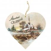 Bohemia Gifts & Cosmetics Dekoračné drevené srdce s potlačou Šťastné a veselé - Kostol 13 cm